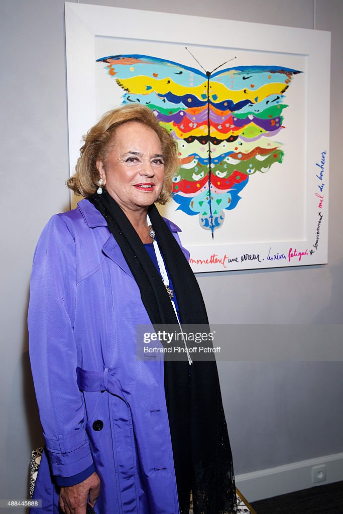 Ira de Furstenberg attends the 'Paintings Poems from Tahar Ben Jelloun - Furniture Scriptures from C.Saccomanno & O.Dayot' : Press Preview at Galerie du Passage on September 15, 2015 in Paris, France
