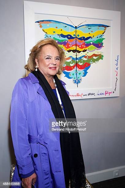 Ira de Furstenberg attends the 'Paintings Poems from Tahar Ben Jelloun Furniture Scriptures from CSaccomanno ODayot' Press Preview at Galerie du...