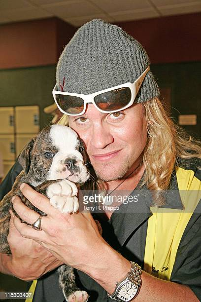 Ira Dean of Trick Pony and Amos Moses his puppy during Lonestar And Friends Strike Out For The Kids - 2nd Annual Bowling Party for St. Jude...