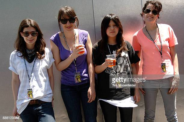 Iracema Trevisan, Luiza Sá, Lovefoxx, and Ana Rezende of CSS, backstage at Live 105's BFD 2007 concert at the Shoreline Amphitheatre in Mountain...