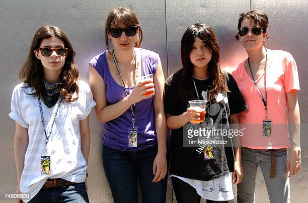 Iracema Trevisan, Luiza Sa, Lovefoxx, and Ana Rezende pose backstage at Live 105's BFD 2007 at Shoreline Amphitheatre on June 09, 2007 in Mountain...