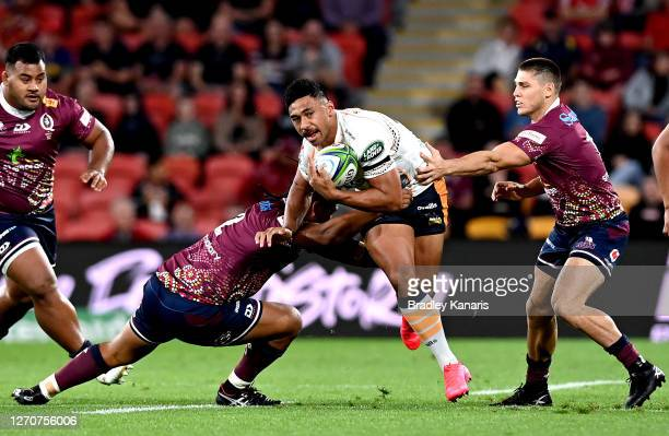 Irae Simone of the Brumbies takes on the defence during the round 10 Super Rugby AU match between the Reds and the Brumbies at Suncorp Stadium on...