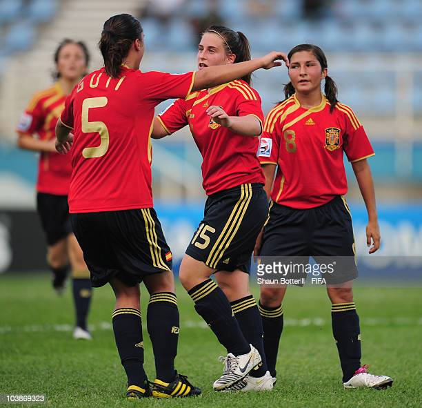 Iraia Perez of Spain celebrates with Laura Gutierrez after scoring during the FIFA U17 Women's World Cup Group C match between Spain and Japan at the...