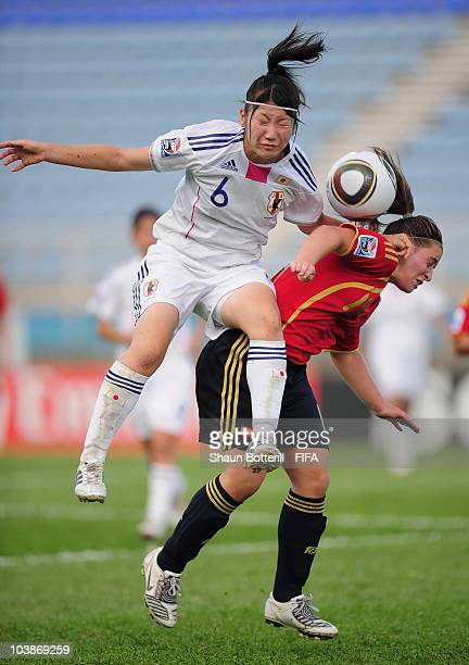 Iraia Perez of Spain is challenged by Ayu Nakada of Japan during the FIFA U17 Women's World Cup Group C match between Spain and Japan at the Ato...