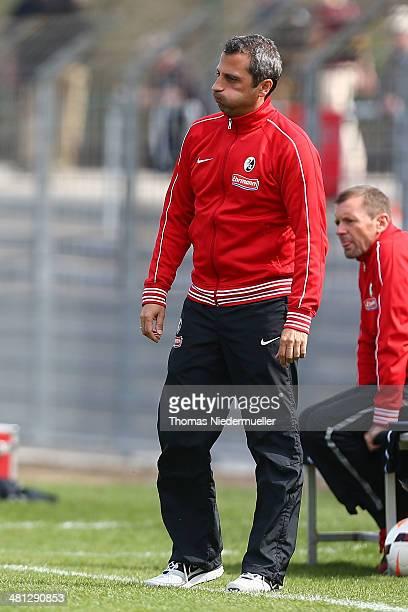 Iraklis Metaxas head coach of Freiburg looks on during the Regionalliga Suedwest match between SC Freiburg II and SG Sonnenhof Grossaspach at...