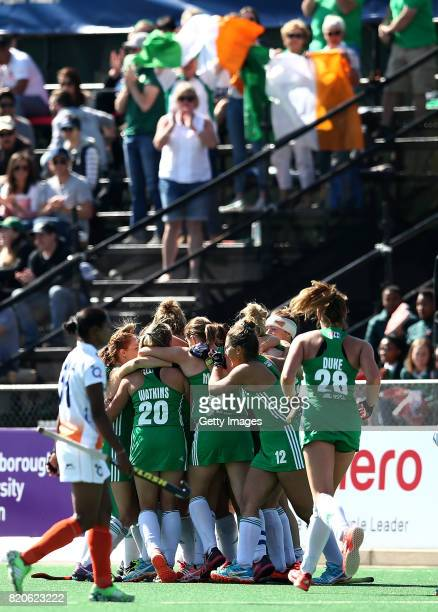 Iraland players celebrate victory at the final whistle during day 8 of the FIH Hockey World League Women's Semi Finals 7th/ 8th place match between...