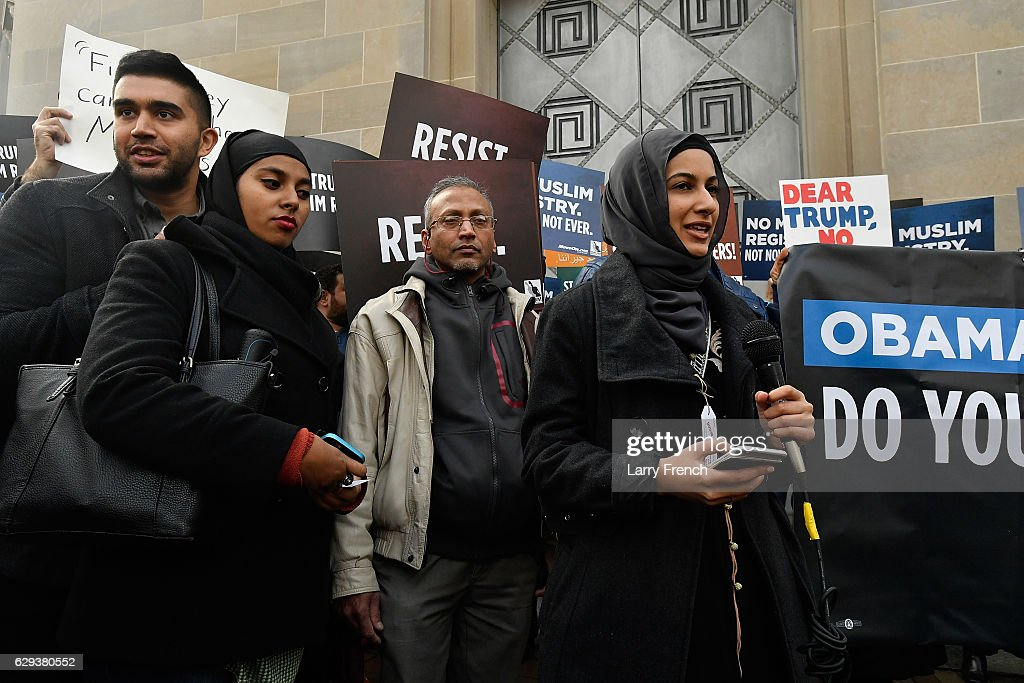 Iram Ali, Campaign Manager for MoveOn.org speaks before Muslims and Allies march from the Department of Justice to the White House to ask President Obama to rescind NSEERSn for the #NoMuslimRegistry Campaign on December 12, 2016 in Washington, DC.
