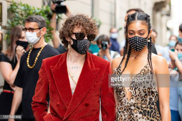 Irama and Victoria Stella Doritou attends the Etro fashion show during Milan Digital Fashion Week on July 15 2020 in Milan Italy