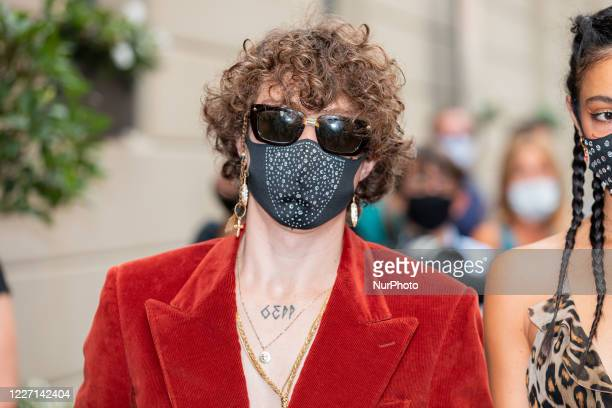 Irama attends the Etro fashion show during Milan Digital Fashion Week on July 15 2020 in Milan Italy