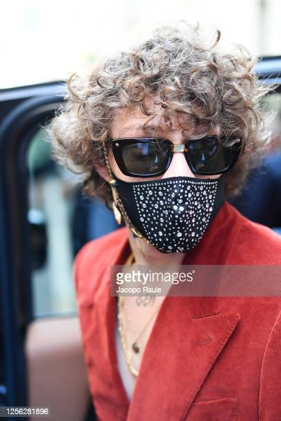 Irama is seen arriving at the Four Season Hotel ahead of the Etro Fashion Show on July 15 2020 in Milan Italy