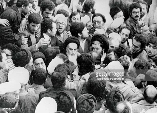 Iran 2nd January 1979 Main opposition leader Ayatollah Khomeini is ringed by turbaned and robed Moslem marshals of the special 'security service'...