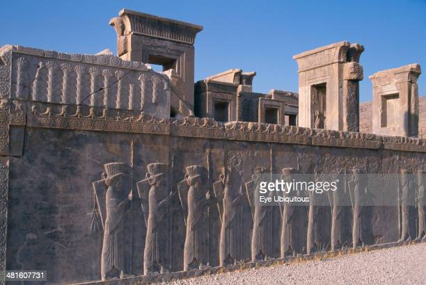 Iran Archaemenid palace complex Xerxes Palace wall with stone relief