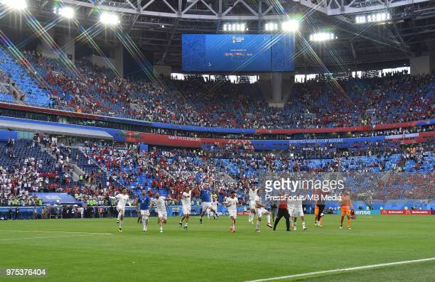 Iran celebrate at full time during during the 2018 FIFA World Cup Russia group B match between Morocco and Iran at Saint Petersburg Stadium on June...