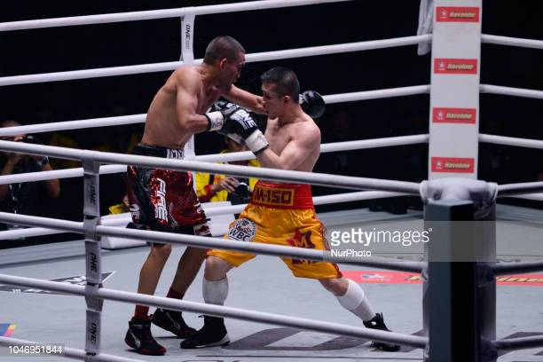 Iran Diaz in action against Srisaket Sor Rungvisai during their super flyweight title bout at the Impact Arena in Bangkok Thailand 6 October 2018