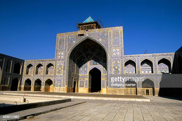 Iran, Esfahan, Eman Khomeni Square, Imam Mosque, Madresseh, Tilework.