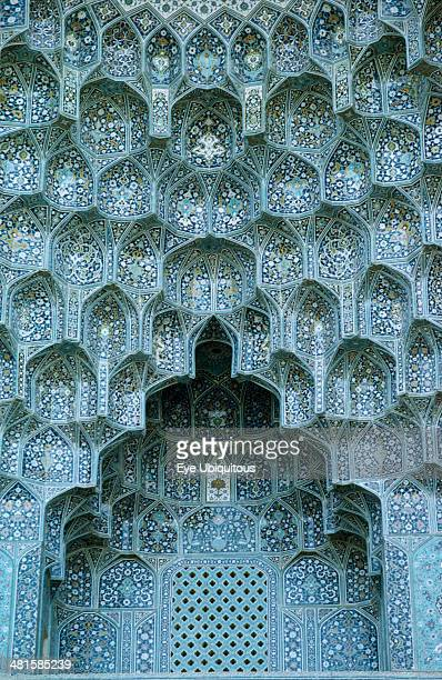 Iran, Esfahan, Mosque detail of blue tiled arch Esfahan Isfahan.