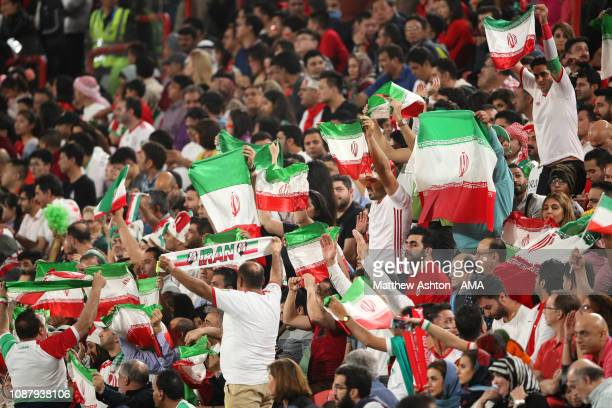 Iran fans celebrate during the AFC Asian Cup quarter final match between China and Iran at Mohammed Bin Zayed Stadium on January 24, 2019 in Abu...
