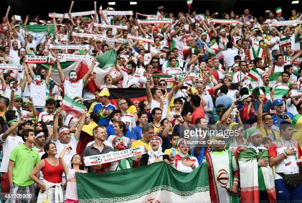 Iran fans cheer during the 2014 FIFA World Cup Brazil Group F match between Bosnia and Herzegovina and Iran at Arena Fonte Nova on June 25 2014 in...