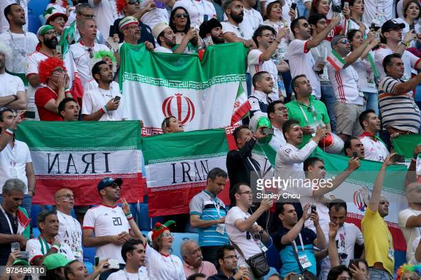 Iran fans during the 2018 FIFA World Cup Russia group B match between Morocco and Iran at Saint Petersburg Stadium on June 15 2018 in Saint...