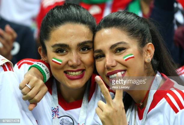 Iran fans enjoy the pre match atmosphere outside the stadium prior during the 2018 FIFA World Cup Russia group B match between Iran and Spain at...