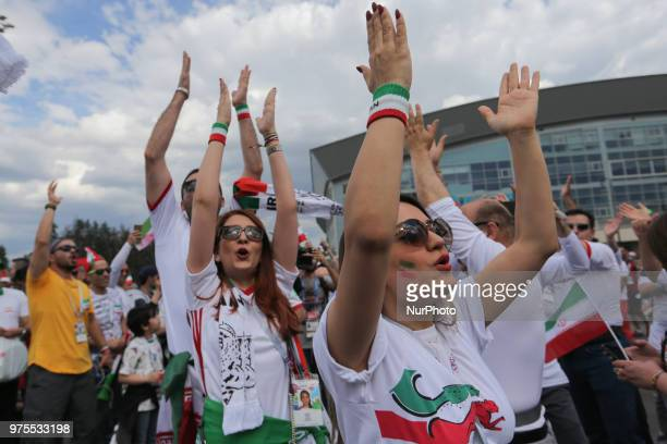Iran fans enjoy the pre match atmosphere prior to the 2018 FIFA World Cup Russia group B match between Morocco and Iran at Saint Petersburg Stadium...