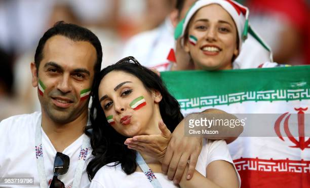 Iran fans enjoy the pre match atmosphere prior to the 2018 FIFA World Cup Russia group B match between Iran and Portugal at Mordovia Arena on June 25...