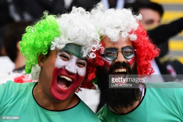 Iran fans react before the Russia 2018 World Cup Group B football match between Iran and Spain at the Kazan Arena in Kazan on June 20, 2018. /...