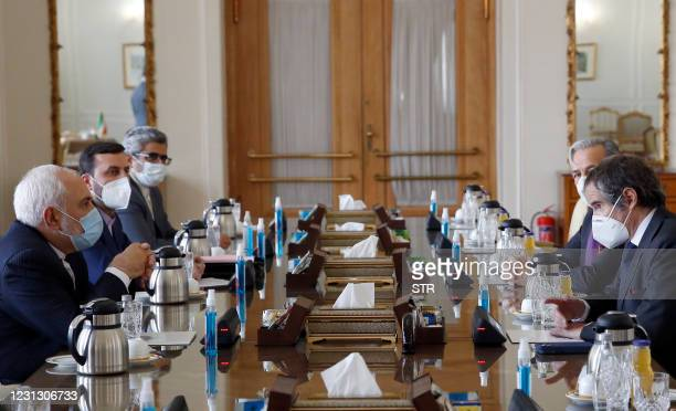 Iran' Foreign Minister Mohammad Javad Zarif meets with the director general of the International Atomic Energy Agency , Rafael Grossi , in Tehran on...