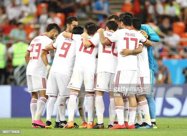 Iran form a huddle during the 2018 FIFA World Cup Russia group B match between Iran and Portugal at Mordovia Arena on June 25 2018 in Saransk Russia