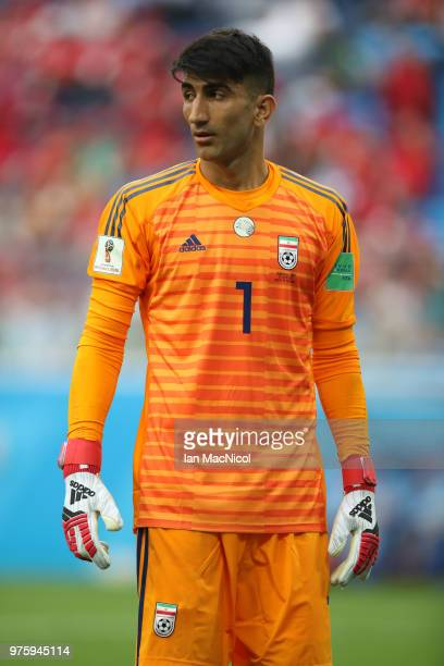 Iran goalkeeper Alireza Beiranvand is seen during the 2018 FIFA World Cup Russia group B match between Morocco and Iran at Saint Petersburg Stadium...