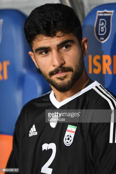 Iran goalkeeper Amir Abedzadeh looks on prior to the friendly football match between Turkey and Iran at Basaksehir Fatih Terim stadium in Istanbul on...