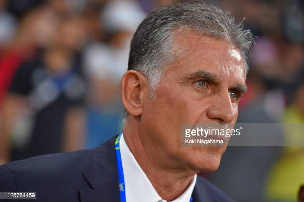 Iran head coach Carlos Quieroz looks on priorn to the AFC Asian Cup semi final match between Iran and Japan at Hazza Bin Zayed Stadium on January 28...