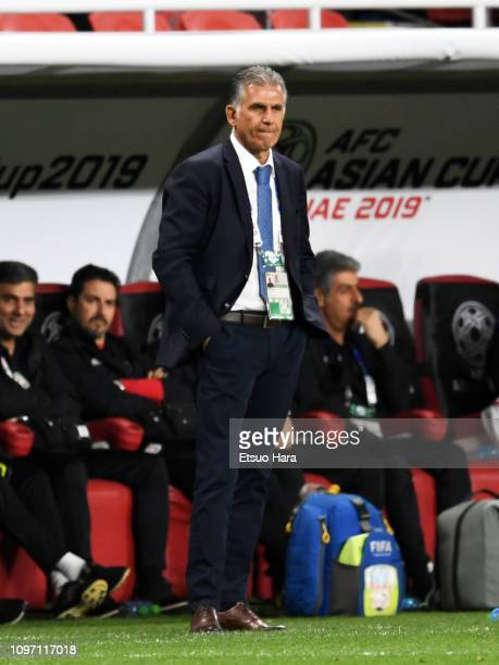Iran head coach Carlos Quieroz of Portugal looks on during the AFC Asian Cup round of 16 match between Iran and Oman at Mohammed Bin Zayed Stadium on...