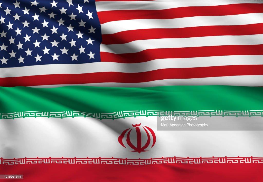 Iran - Iranian Flag USA Flag with No Texture : Stock Photo