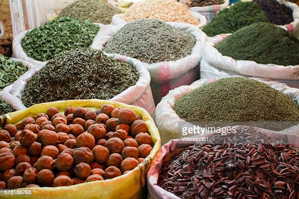 Iran, Isfahan, bags of different spices at grand bazaar
