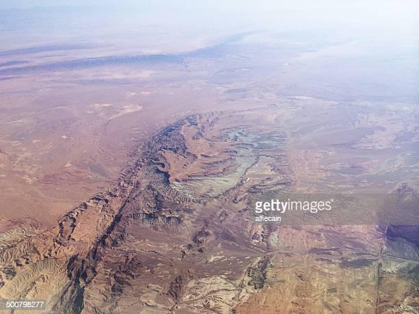 Iran, Kurdistan, Aerial view of Zagros mountains range