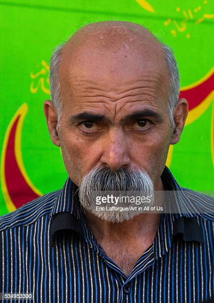 Iran Lorestan Province Khorramabad man with big moustache during chehel menbari festival on tasua day to commemorate the martyrdom of imam hussein