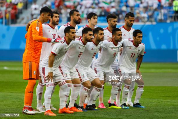 IR Iran national team players pose for a photo during the 2018 FIFA World Cup Russia Group B match between Morocco and IR Iran on June 15 2018 at...