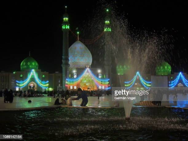 iran nightlife at jamkaran mosque dedicated to imam mahdi, the awaited savior in islam - jamkaran mosque stock pictures, royalty-free photos & images
