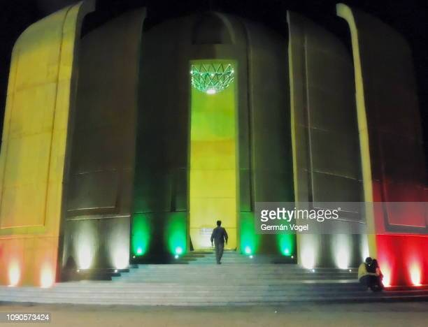 iran nightlife at mausoleum of anonymous martyrs of the iran-iraq war in jamkaran, qom - jamkaran mosque stock pictures, royalty-free photos & images