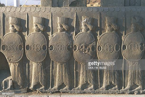 Iran Persepolis Council Hall 'Tripylon' relief of Persian guards