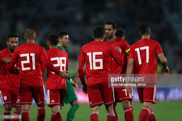 Iran players celebrate after second goal of Iran during the international friendly match between Iran and Bolivia at Azadi Stadium on October 16 2018...