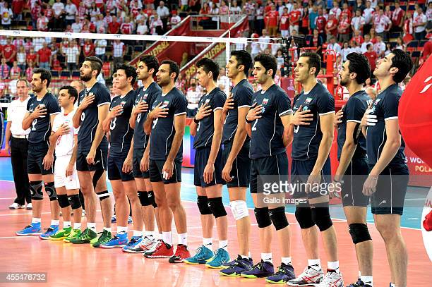 Iran players hearing national anthem during Round 2 of the FIVB Volleyball Mens World Championship match between Serbia and Iran at Atlas Arena on...
