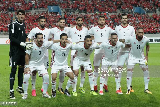 Iran players line up for the team photos prior to the FIFA World Cup Russia Asian qualifier match between South Korea and Iran at Seoul World Cup...