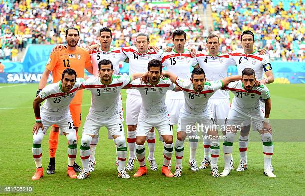 Iran players pose for a team photo prior to the 2014 FIFA World Cup Brazil Group F match between Bosnia and Herzegovina and Iran at Arena Fonte Nova...