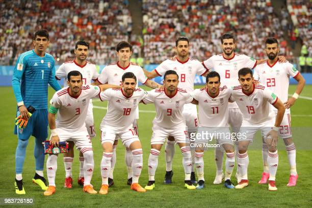 Iran pose prior to the 2018 FIFA World Cup Russia group B match between Iran and Portugal at Mordovia Arena on June 25 2018 in Saransk Russia
