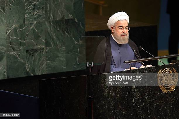 Iran President Hassan Rouhani addresses the United Nations General Assembly at UN headquarters on September 28 2015 in New York City The ongoing war...