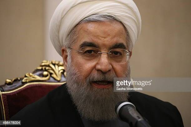 Iran President Hassan Rouhani attends a joint press conference with Russian President Vladimir Putin after the end of the third Gas Exporting...