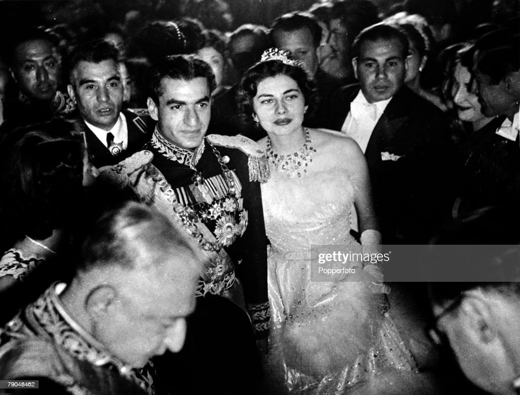 Iran (Persia). Royalty. pic: February 1951. The Shah of Iran,(Persia) Muhammad Reza Pahlavi, (1919-1980), pictured with his second wife Soraya after their marraige ceremony in the Hall of Mirrors . He ascended the throne in 1941, narrowly escaped assasina : News Photo