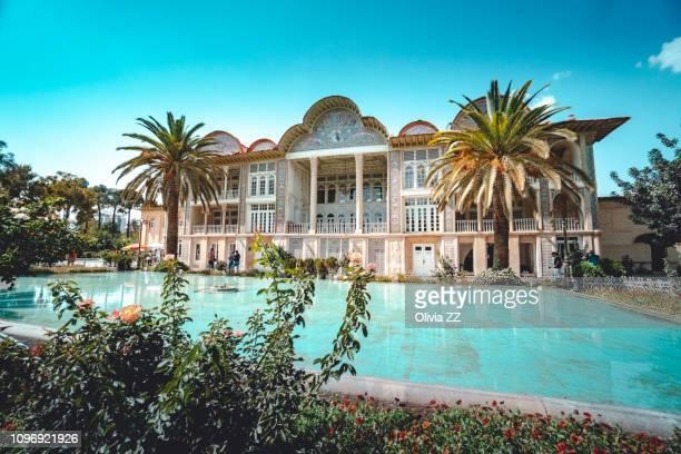 iran, shiraz city, kakh-e eram palace and bagh-e eram garden with swimming pool - shiraz stock pictures, royalty-free photos & images